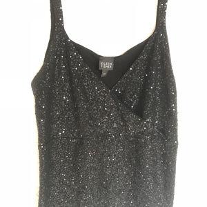 Eileen Fisher Black Sequins Camisole Size L